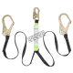 Peakworks Y-lanyard with an energy absorbing inner core and a strong polyester webbing, 200-350 lb.