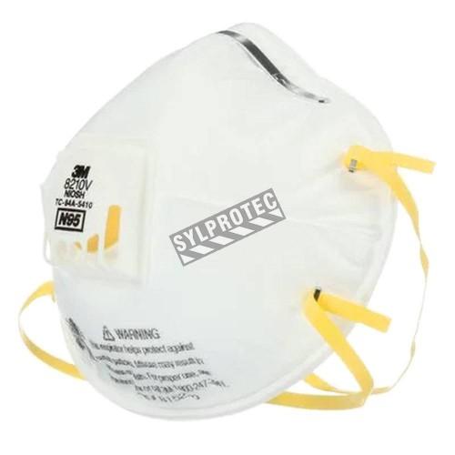 Masque respiratoire N95 avec valve de 3M. Efficace contre particules solides & liquides sans huile. Vendu par boite de 10 unités
