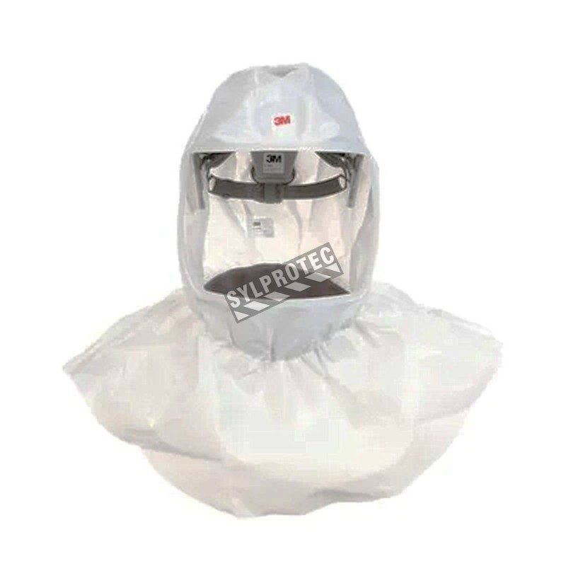 3M white S-series hood for respiratory protection systems in pharmaceutical facilities. One-size-fits-all.