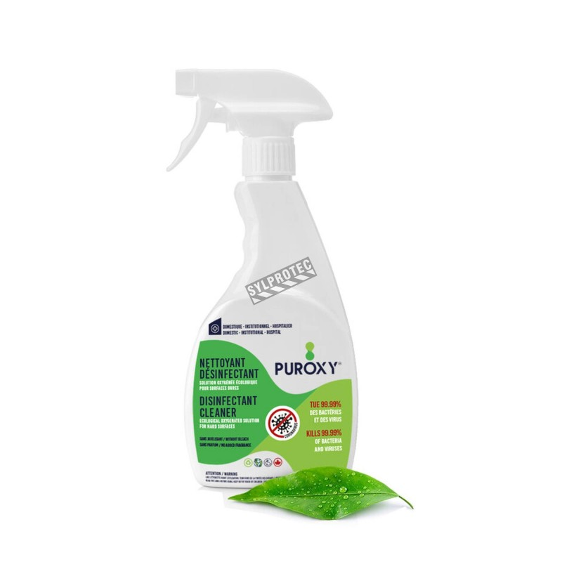 Puroxy, désinfectant pour les surfaces à base de peroxyde d'hydrogène. Disponible en format de 1 litre muni d'un vaporisateur