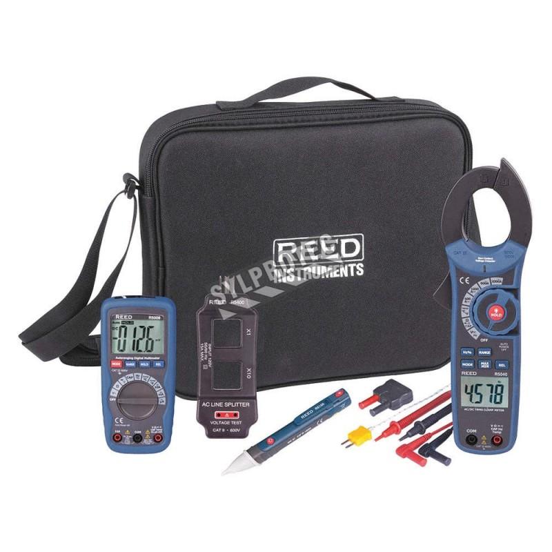 Trousse combo à multimètre, pince ampèremétrique, détecteur de tension et autres.
