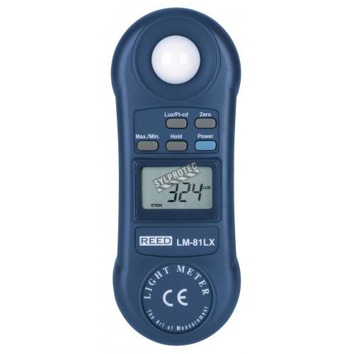 Luxmètre mesure  Lux/pied-chandelles, au choix de l'utilisateur
