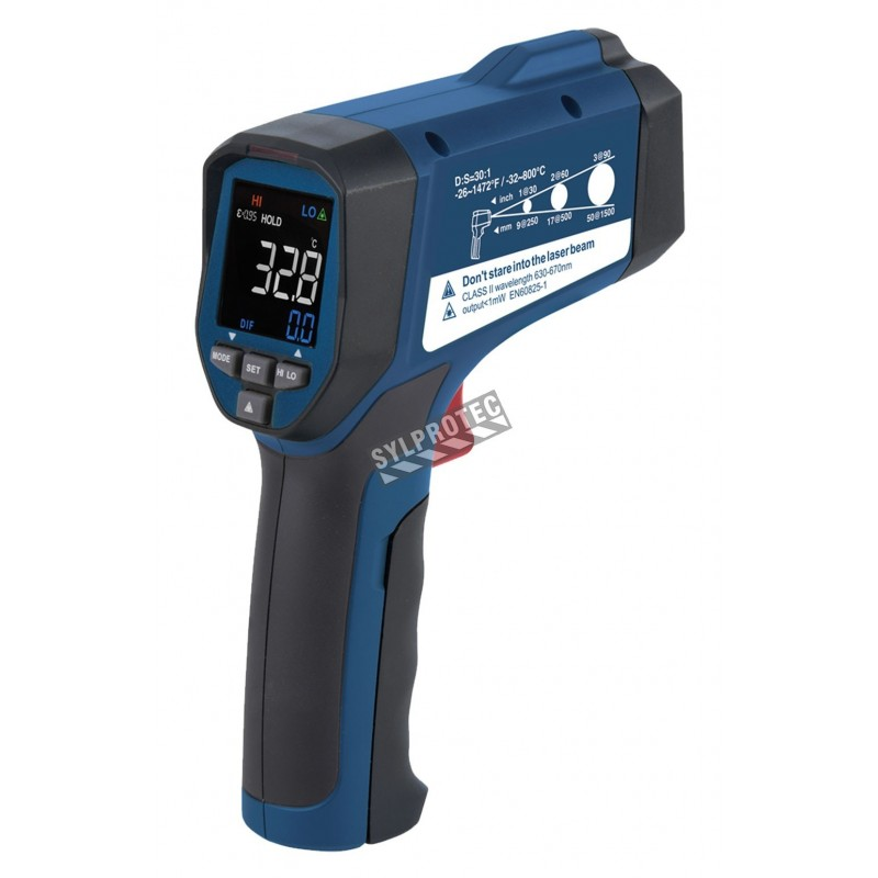 Infrared thermometer measures -32 to 800 degrees Celsius