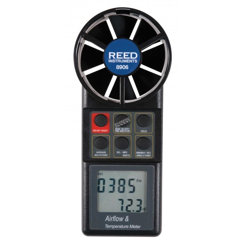 Thermo-anémomètre à pales rotatives, Affiche simultanément la vélocité de l'air et de température.