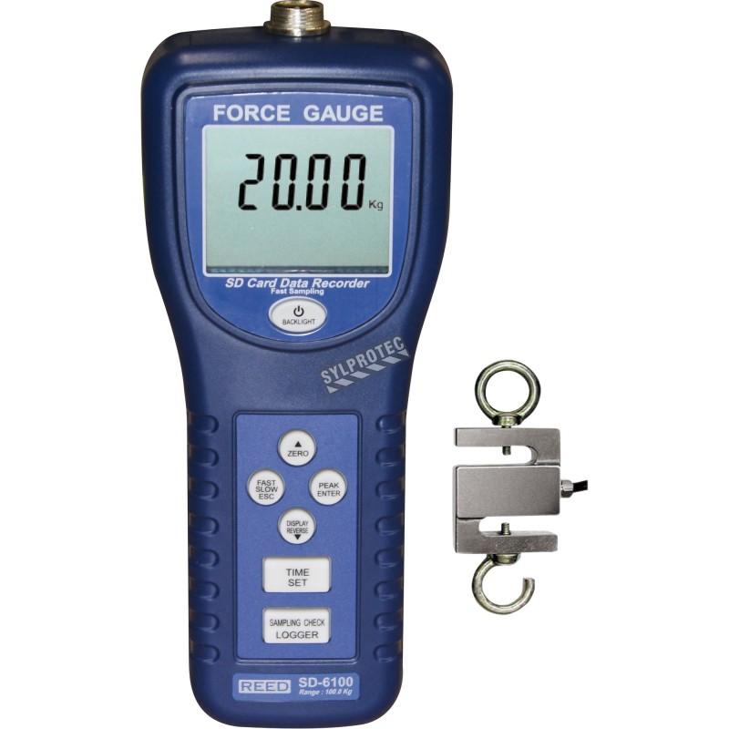Dynamomètre pour mesure de tension & compression. Capacité: 100kg. Inclut 1 sonde à 2 crochets, 2m de câble & étui de transport