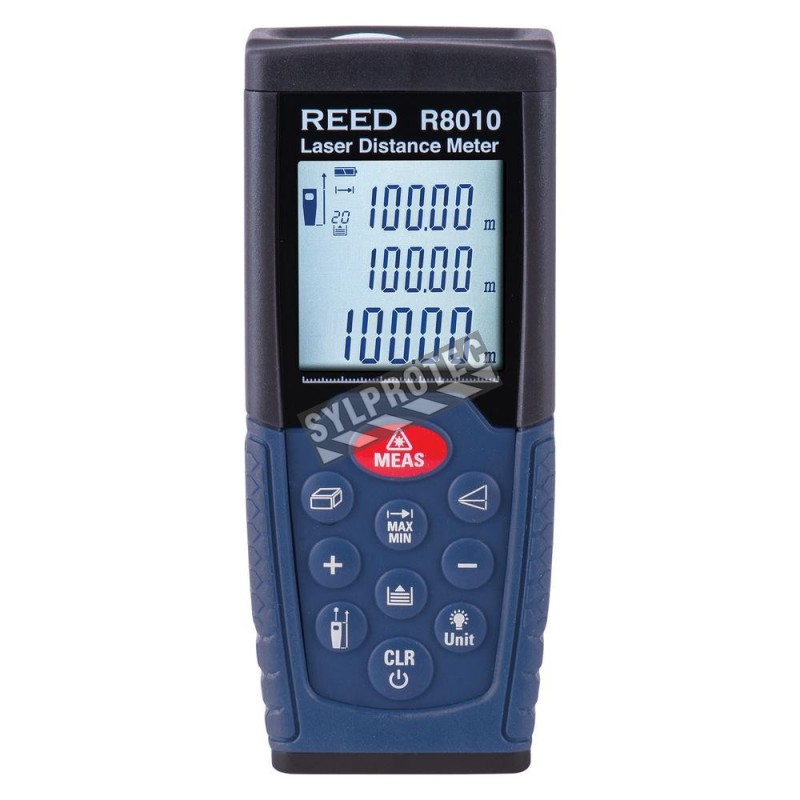 Mesureur de distance au laser de classe 2. Données métriques & impériales. Portée: 0.05m à 50m. Fonctionne avec deux piles AAA.