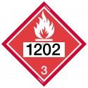 Placard avec numéro UN, 10-3/4 po X 10-3/4 po. Pour le transport des matières dangereuses