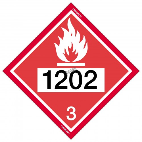 Placard with UN number 10-3/4 in X 10-3/4 in. Use in the transportation of hazardous materials.