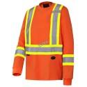 Chandail haute visibilité à manches longues, orange fluo avec bandes réfléchissantes.