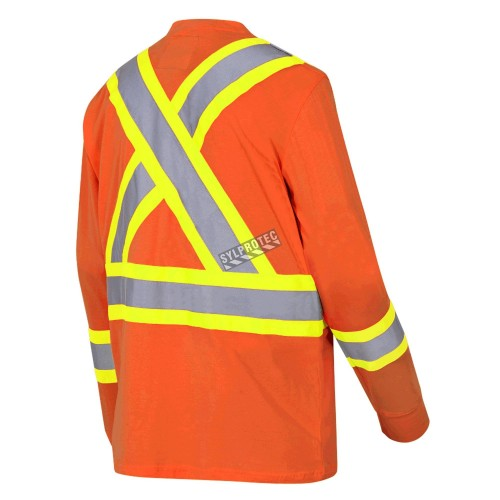 High visibility long-sleeved shirt, neon orange with reflective stripes.