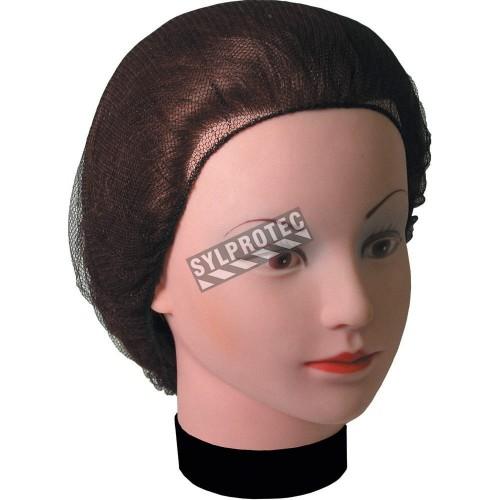 Brown nylon tight mesh hair net, 100 units.