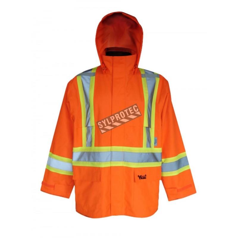 Hi-Viz orange Handyman® 300D raincoat for extreme conditions with silver & yellow stripes,Class 2, Level 2 (S-3XL)