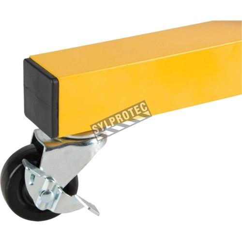 Roulette pour barrière de sécurité extensible, 10 pieds (3 m), en aluminium peint en jaune.