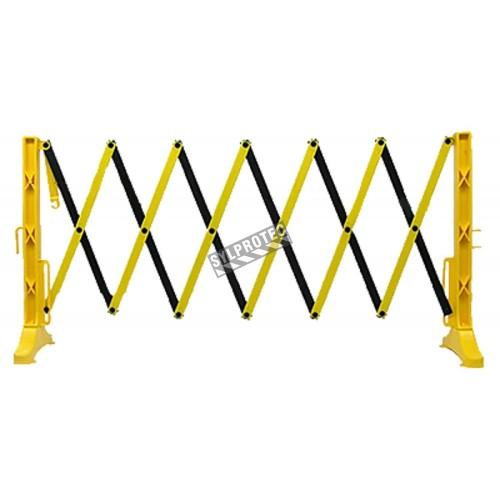 Barrière de sécurité extensible, 11 1/2 pieds (3,5 m), en polypropylène jaune et noir.