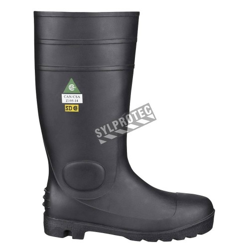 Waterproof black PVC boots with steel toe caps, CSA Z195 compliant.