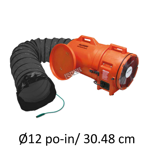 """Allegro 12"""" explosion-proof axial blower kit with polyethylene shell and 25' (7.62 m) conductive duct"""