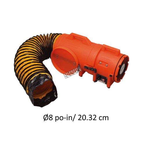 """8"""" axial blower, light and compact, with compartment for ducting, choice of ducting, 15, 25 or 50 ft."""