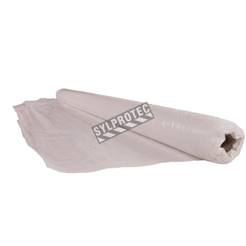 High density (670 denier) white polyethylene rip-free tarp. Thickness: 3 mil. Ideal for asbestos abatement & decontamination.