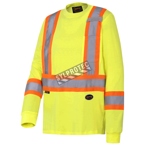 High visibility long-sleeved shirt, neon yellow with reflective stripes.