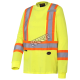 High visibility long-sleeved shirt, neon yellow with reflective stripes