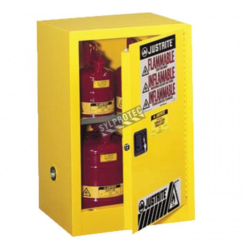 Wall-mounted flammable liquids storage cabinet, 12 US gallons (45 L), meets FM, NFPA and OSHA.
