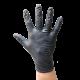 Powder-free black nitrile gloves of thickness 4 mils. Size: M (8) to XL (10). Sold per box, 100 units/box.