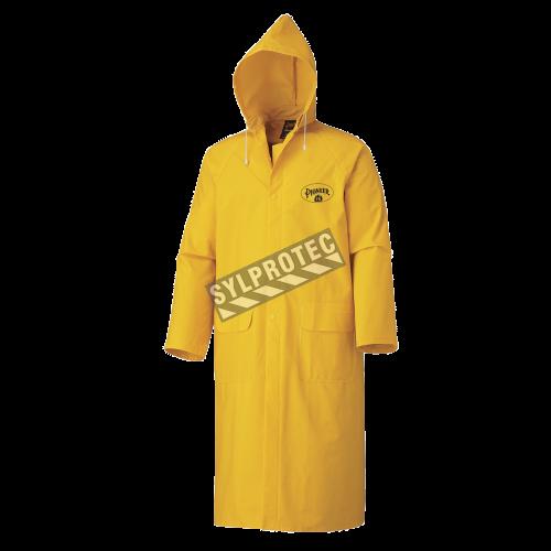 Manteau de pluie en PVC jaune 48 po. de long résistant à la flamme.