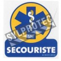 Self-adhesive vinyl first aid attendant sign featuring the international emblem of physicians