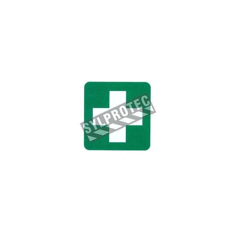 Affiche 4 X 4 autocollant - croix blanche sur fond vert